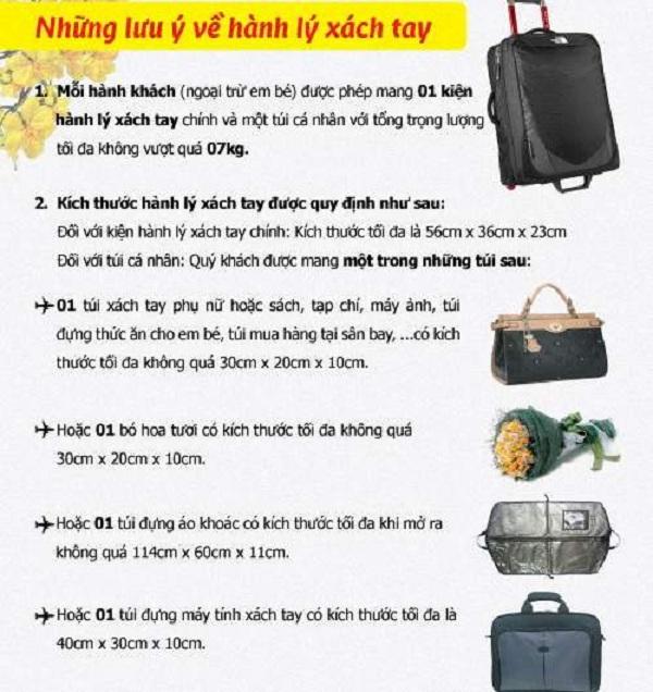 Kích thước hành lý xách tay Vietjet