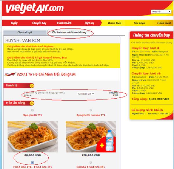 mua thêm hành lý ký gửi Vietjet Air