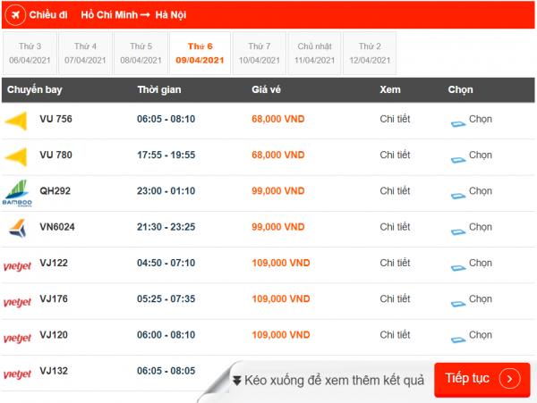 Vé máy bay giá rẻ Vietjet, BamBoo và Vietnam Airlines