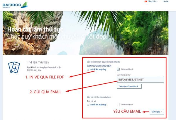Hướng dẫn check in trực tuyến Bamboo Airways